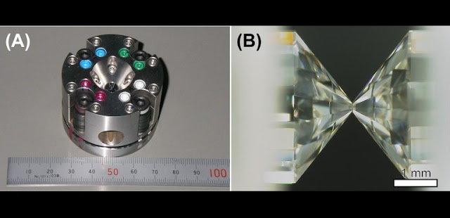 Laser-heat diamond-anvil cell (A), and anvil in the cell (B) We can create the pressure-temperature condition of the earth core by laser-heating the compressed sample in the cell. Credit: Kenji Ohta
