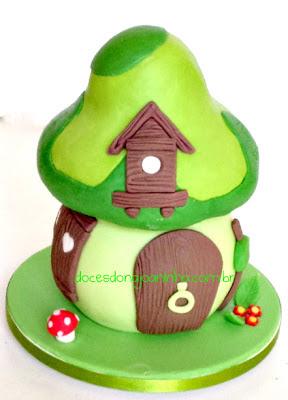 Casinha cogumelo da Vila Smurf em verde do Smurf Pintor