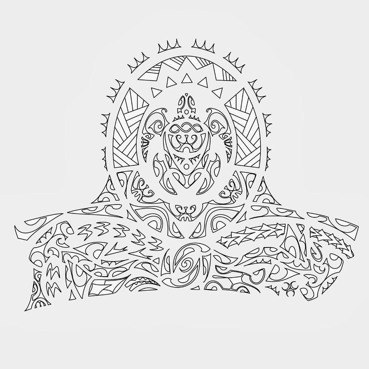 Tribal Half Sleeve Turtle and Sharks Tattoo Stencil