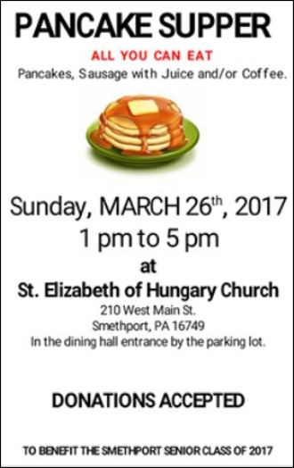 3-26 Pancake Supper, Smethport, PA