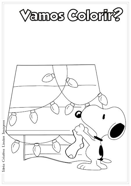 Desenho Snoopy Natal Peanuts para colorir