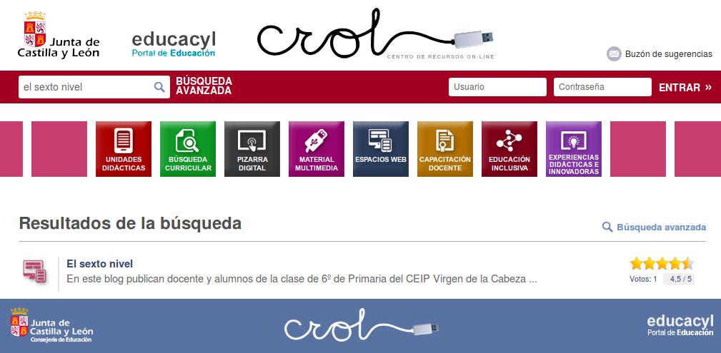 http://www.educa.jcyl.es/crol/es/buscar?lookForType=0&searchGlobalInRootWeb=false&searchWeb=crol&sortIndex=0&simpleSearchPattern=el+sexto+nivel