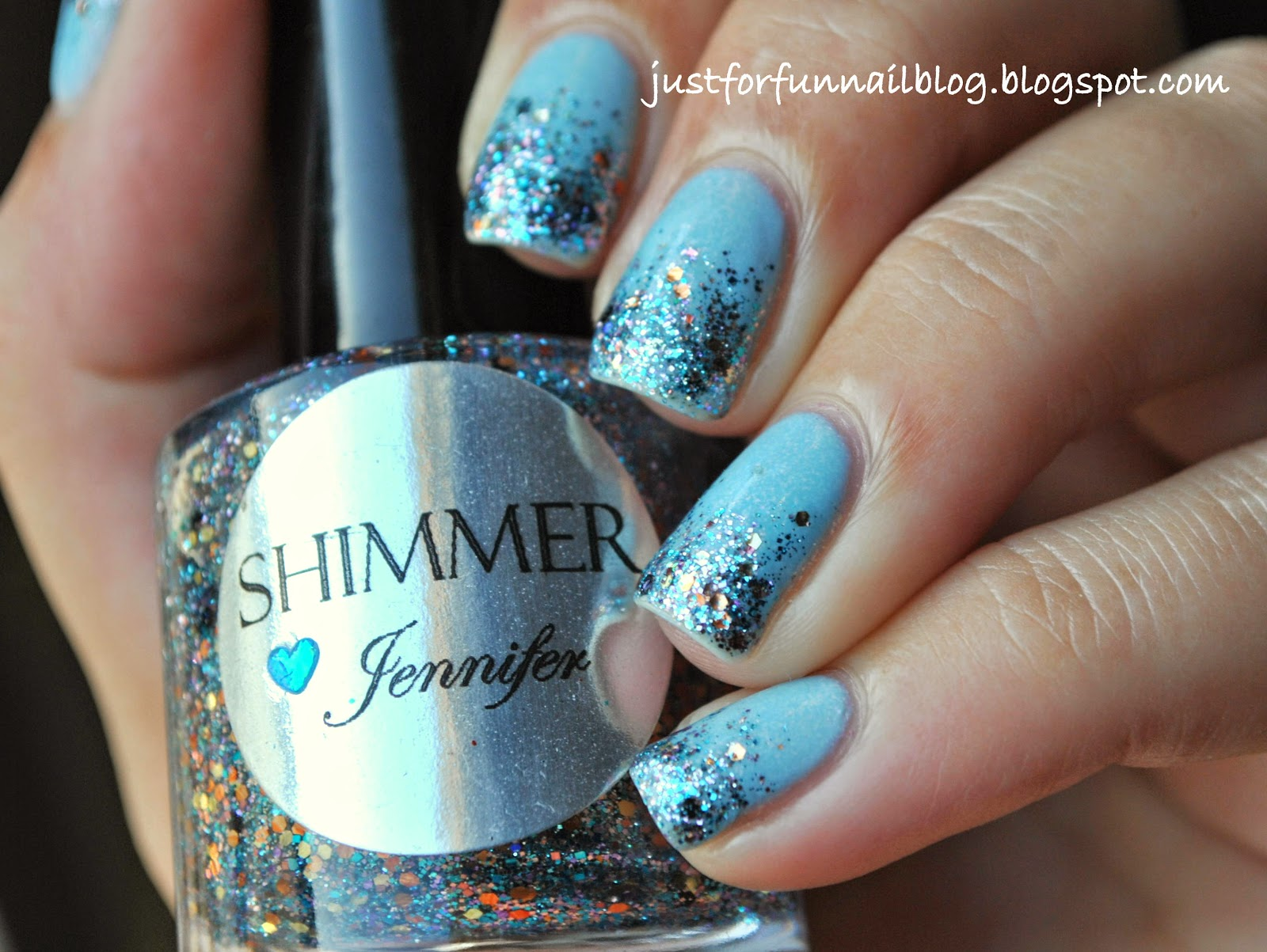 Light Blue Glitter Gradient with Shimmer - Jeniffer