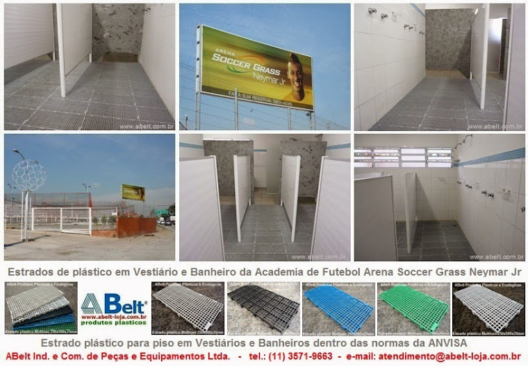 Estrado plástico para banheiro e vestiário da Academia de Futebol Arena Soccer Grass Neynar Jr.