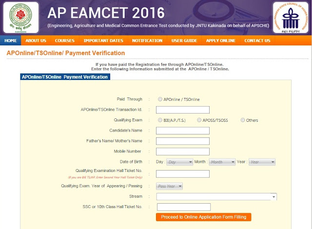 APEAMCET 2016 Online Application