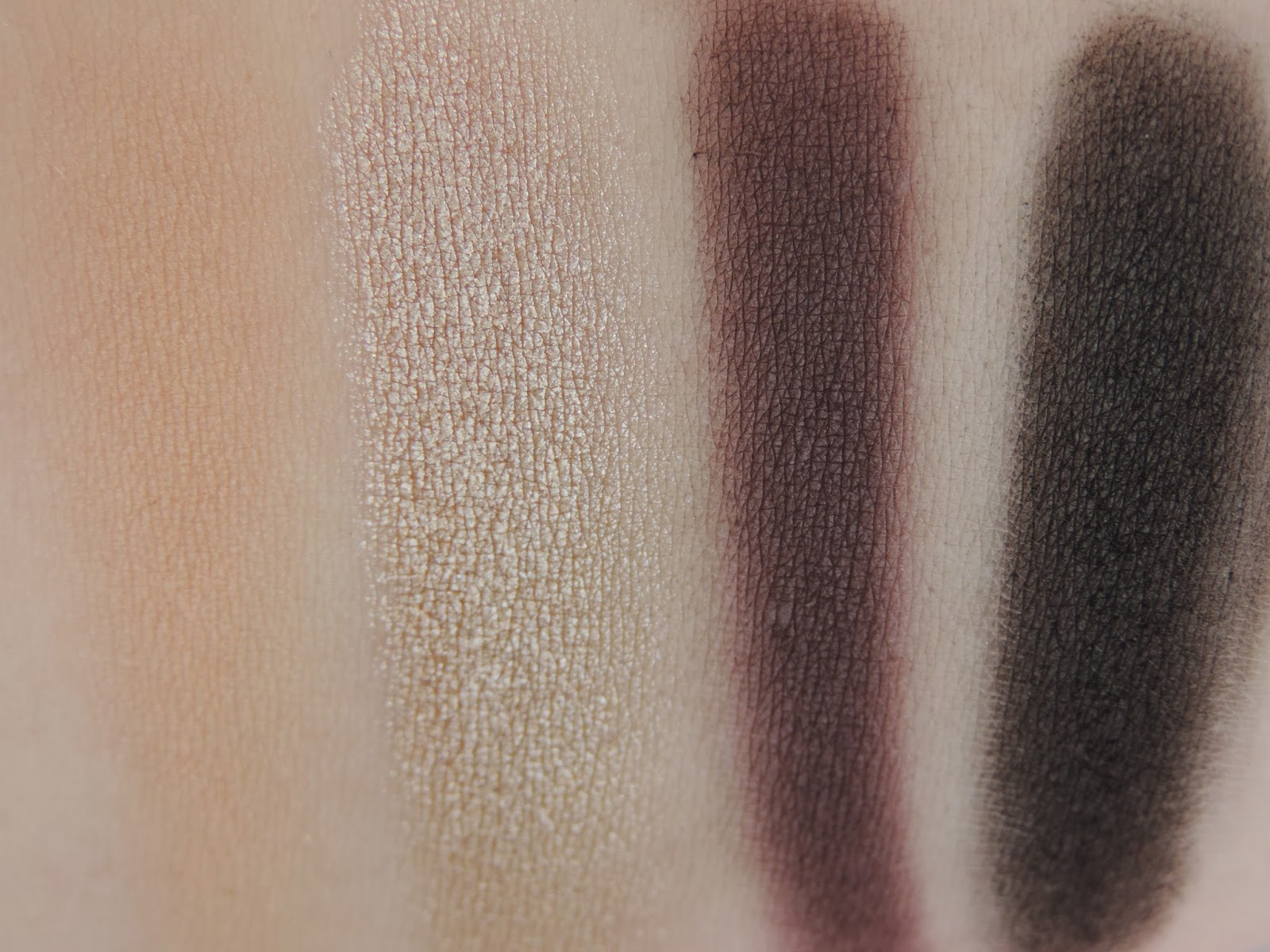Swatches from left: Toast (heavy), Taupe, Regal, Noir
