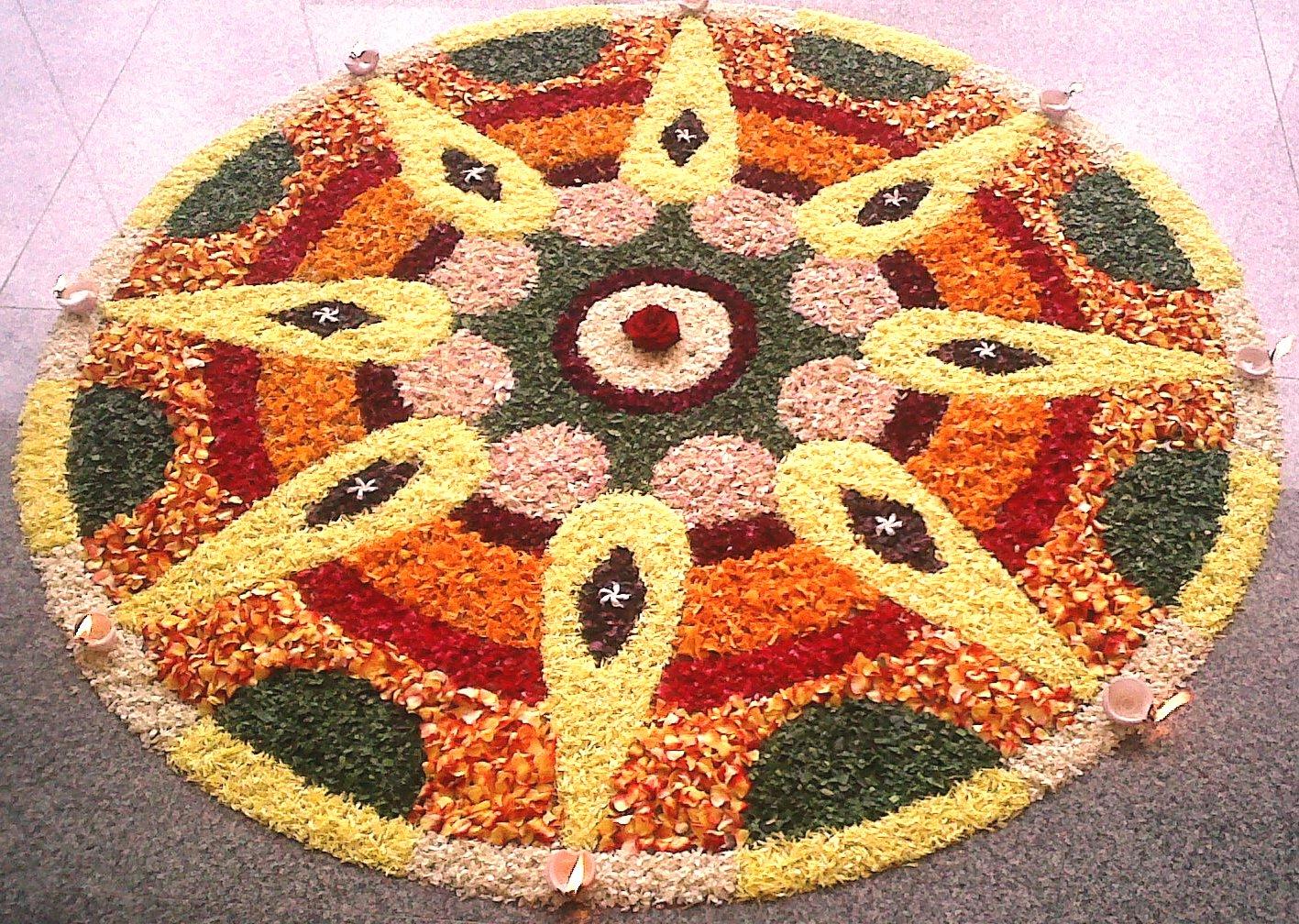 Rangoli designs big beautiful flower rangoli for Home rangoli designs