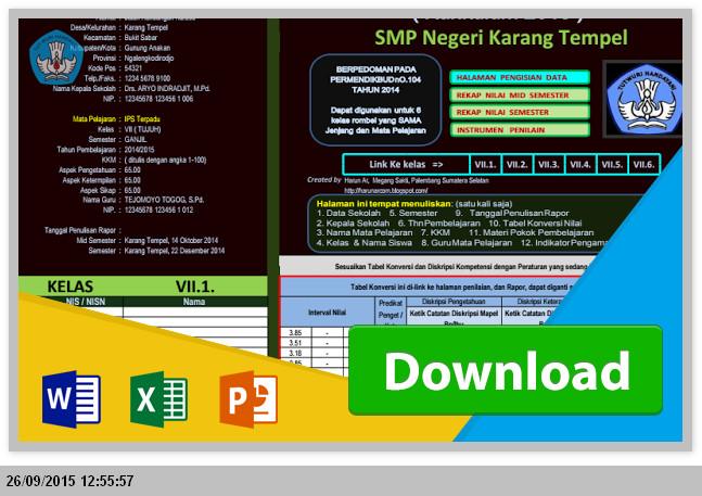 Aplikasi Pengolahan Nilai Raport Kurikulum 2013 SMP Microsoft Excel 2015