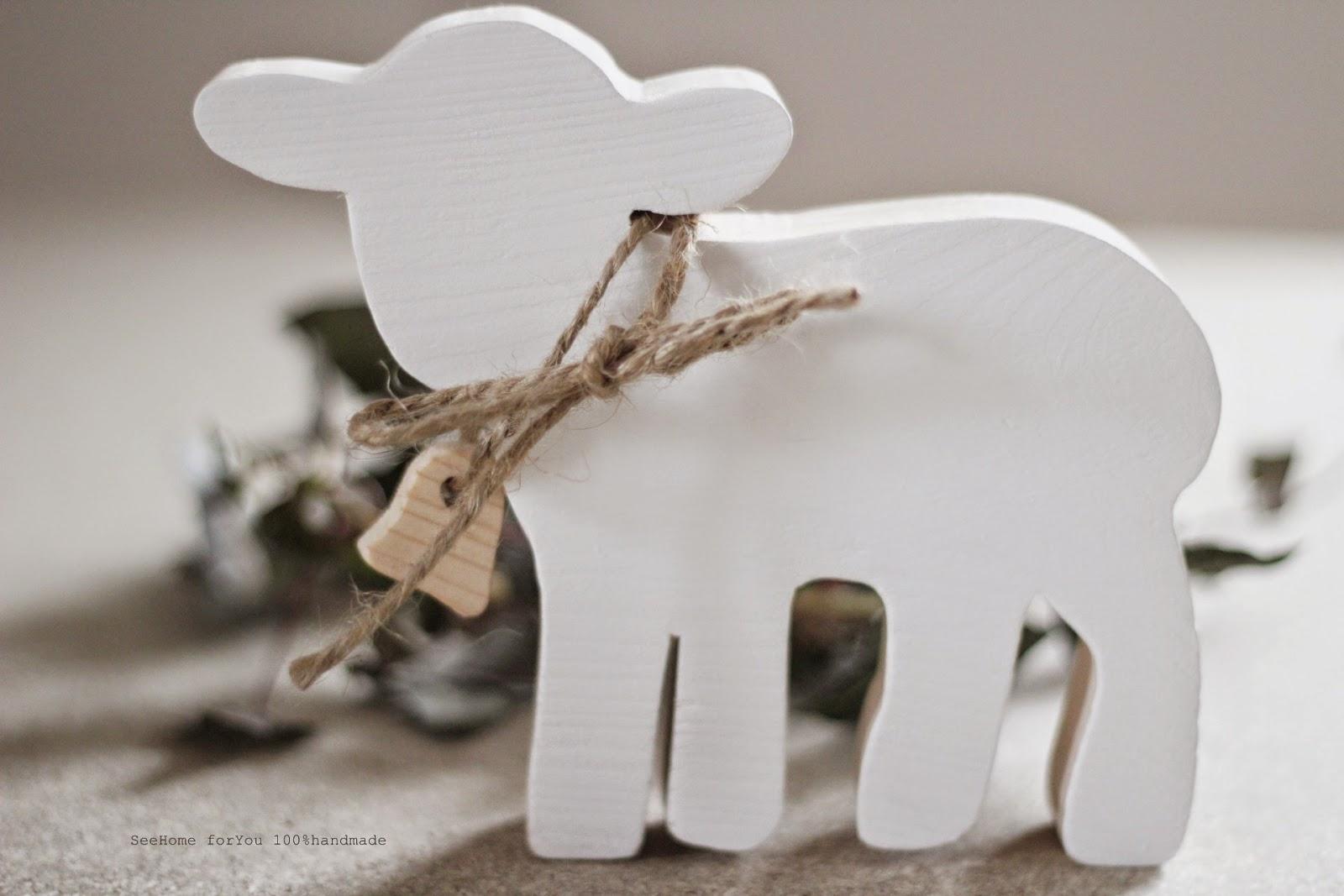 Biały Kolor,Drewniana Ozdoba,Ozdoba na stół wielkanocny