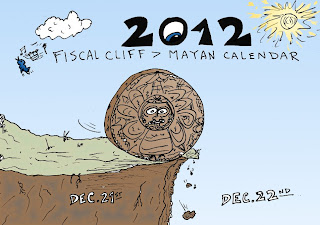 infographic of the mayan calendar rolling off the fiscal cliff's edge for the binary options news of december 20, 2012