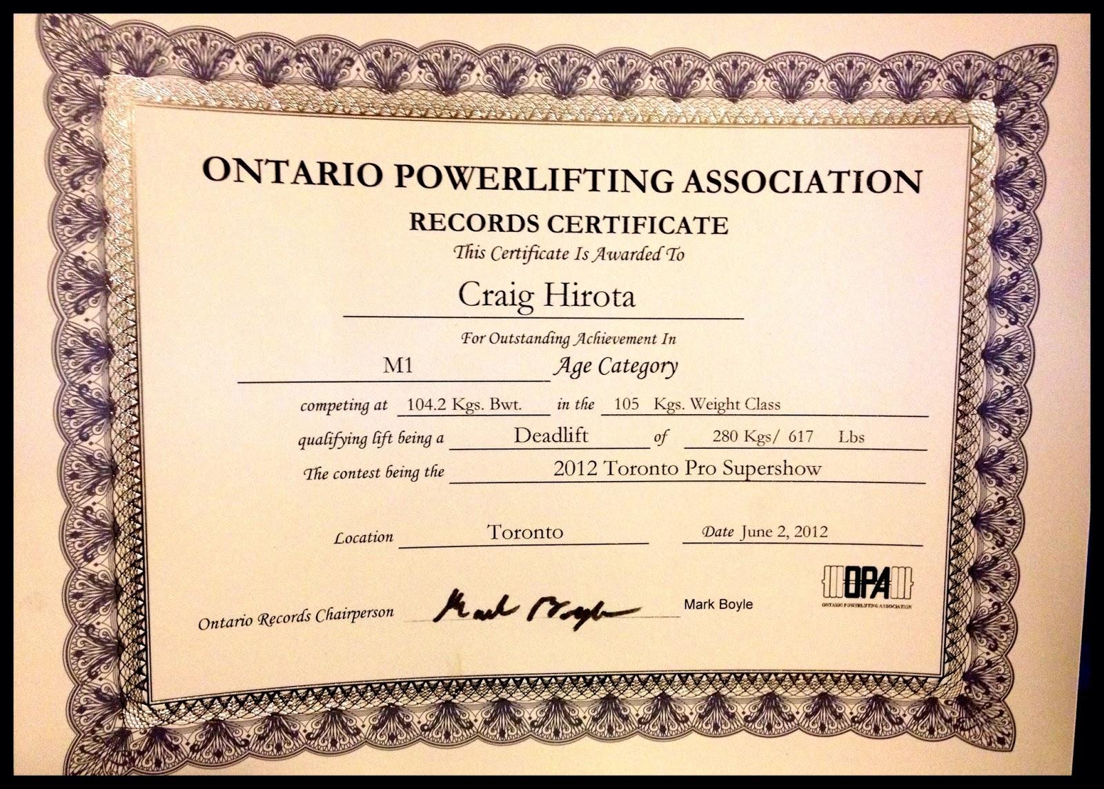 record certificate