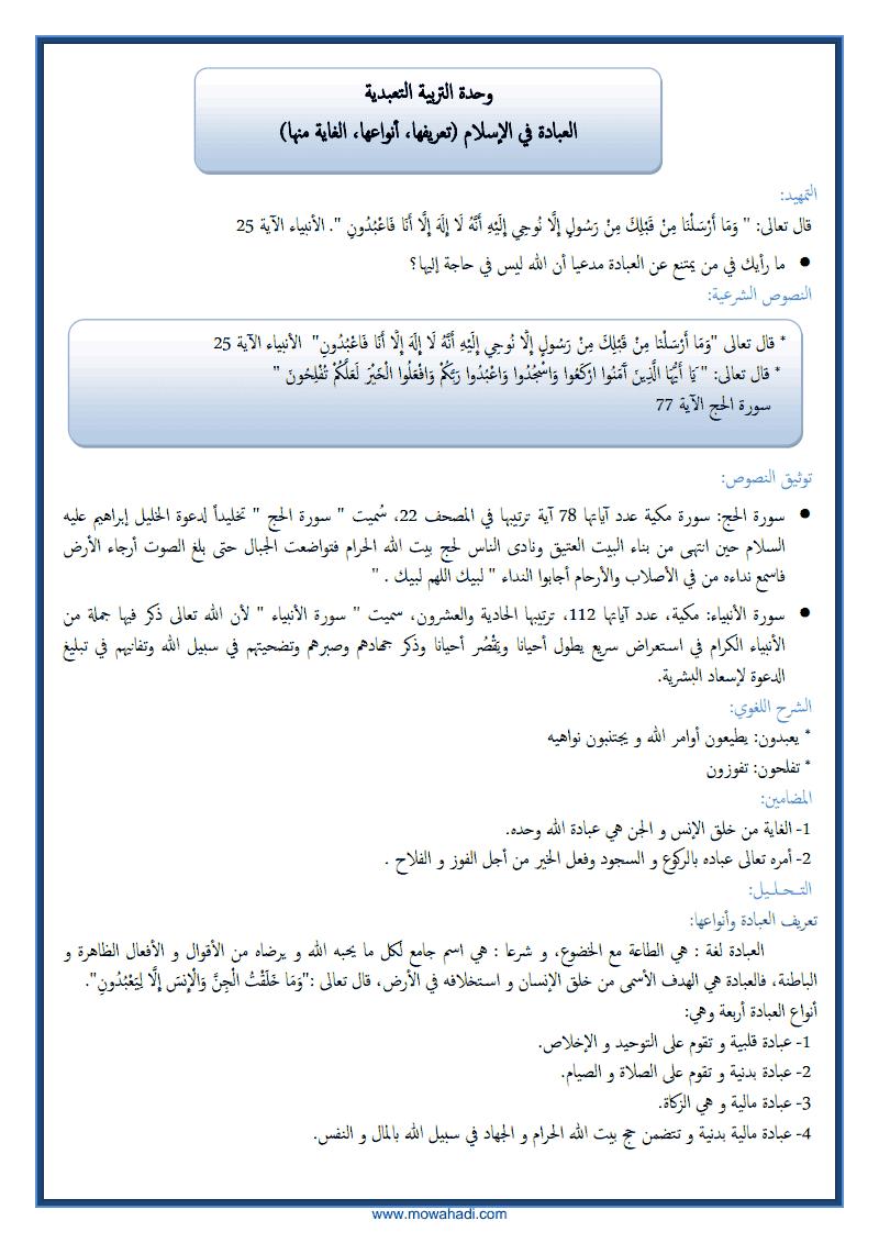 العبادة في الاسلام-1