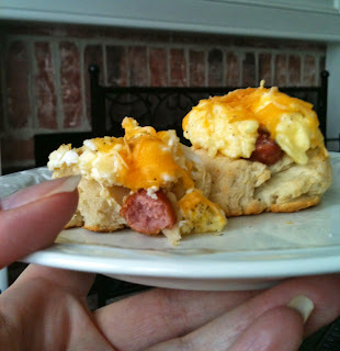 Lit'l Smokies Egg and Cheese Drop Biscuits from Soup Spice Everything Nice