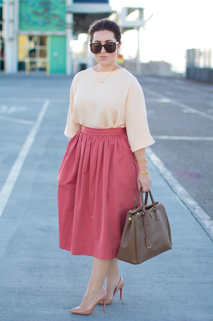 karen walker sunglasses, pink full midi skirt, christian louboutin pigalle pumps