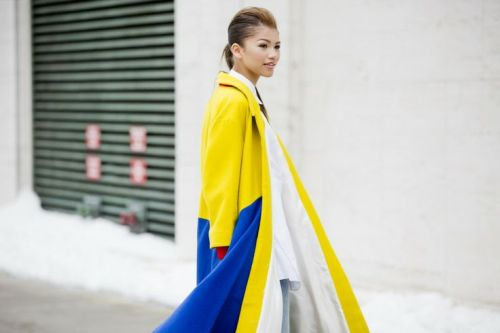 street style from NYFW with an awesome yellow coat