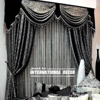 curtain designs, unique curtains,black and grey curtains, window decorations
