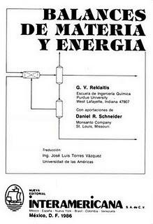 balance de materia y energia reklaitis