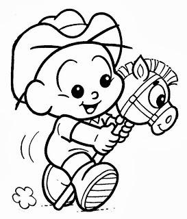 desenho ccebolinha baby com cavalinho de madeira