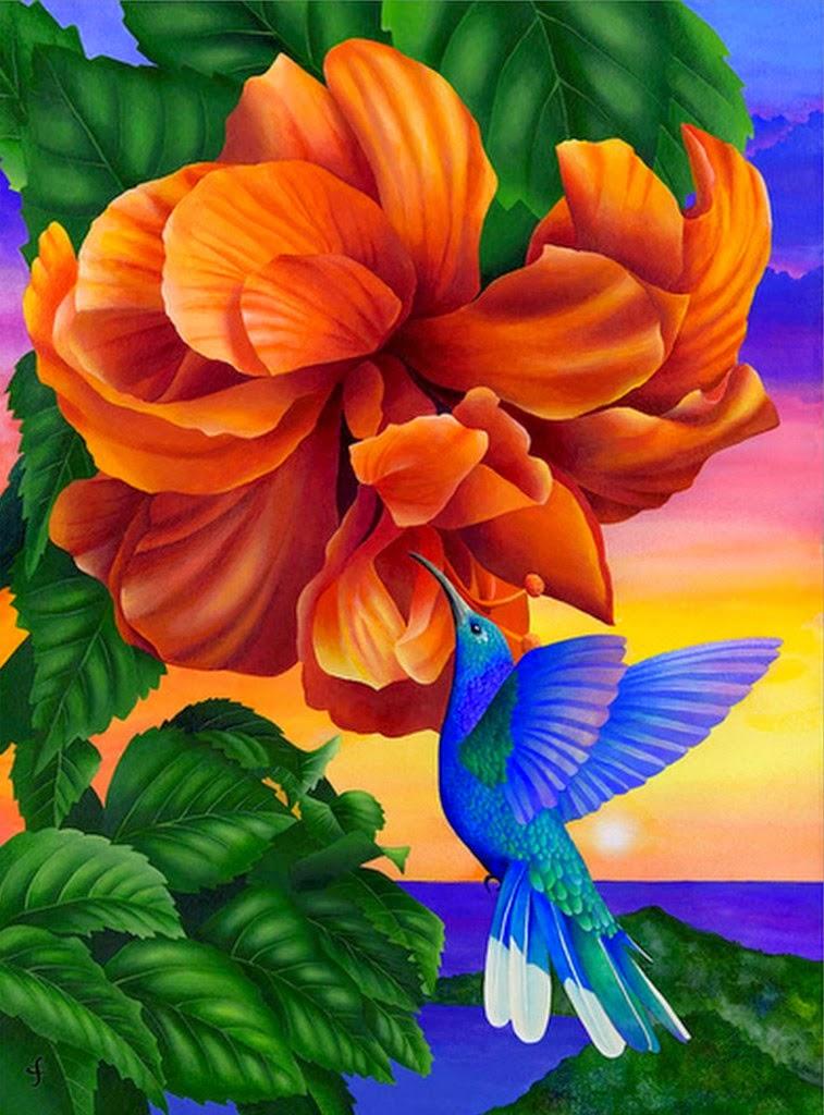 cuadros-de-paisajes-con-flores-y-pajaros