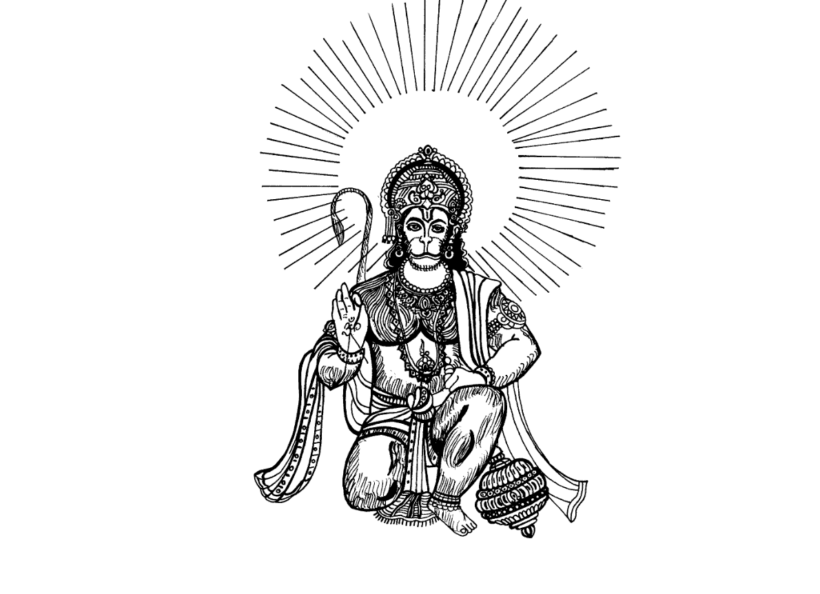 Line Drawing Wallpaper Uk : Sketch of lord hanuman coloring pages