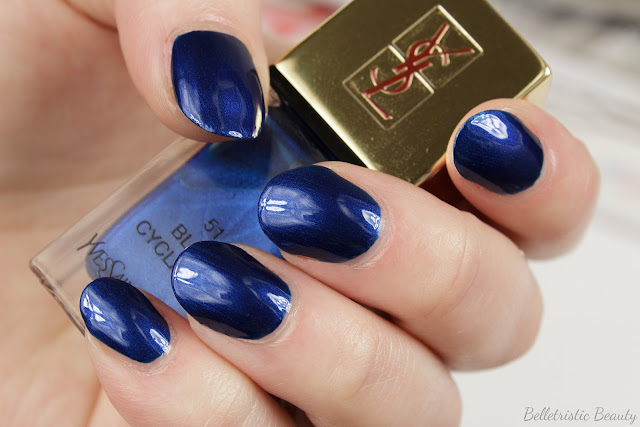 Yves Saint Laurent Bleu Cyclades #51 La Laque Couture nail polish lacquer swatch, Bleu Lumiere Collection, Summer 2014, in studio lighting