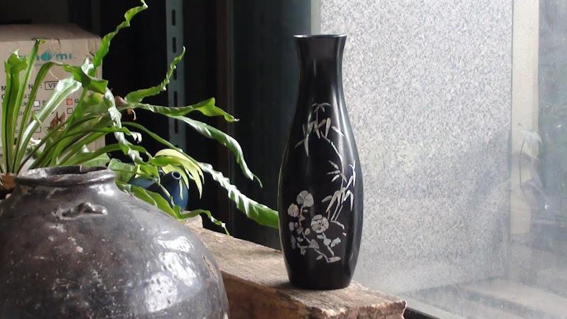ขายแจกันไม้ฝังมุขจากจีนใช้แล้วของเก่าสภาพดี
