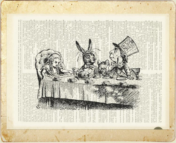 06-Mad-Hatter-Tea-Party-Jean-Cody-Vintage-Dictionary-Page-Art-Prints-www-designstack-co