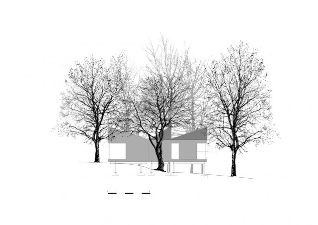 Drawing of small resort house in the forest