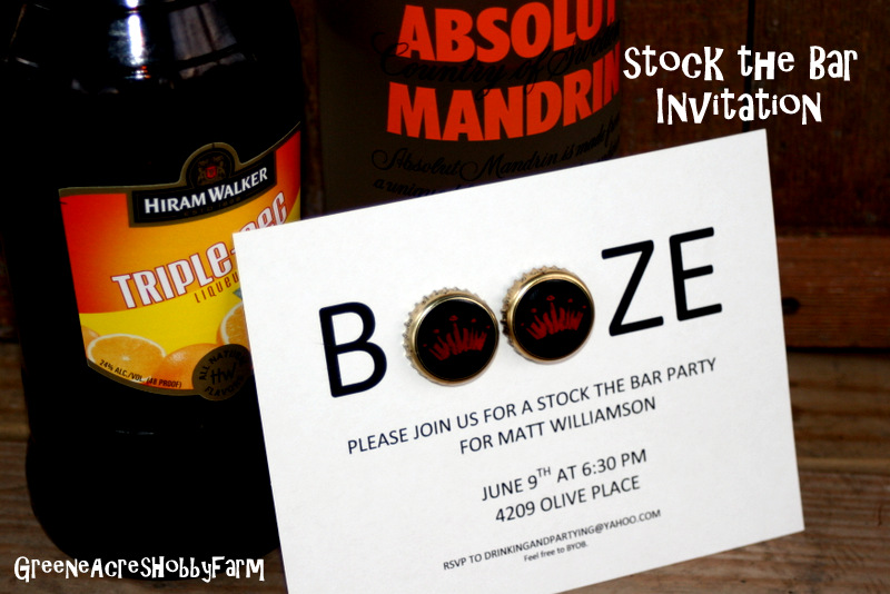 Greene Acres Hobby Farm Stock the Bar Party Invitation