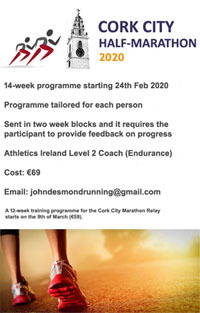 14-wk training programme for the Cork City Half-Marathon