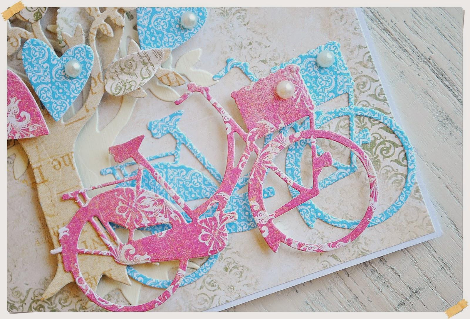 kartka scrapbooking z rowerami walentynki