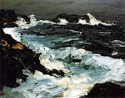 1903 Rough Seas near Lobster Point oil on panel 20.3 x 25.4 cm
