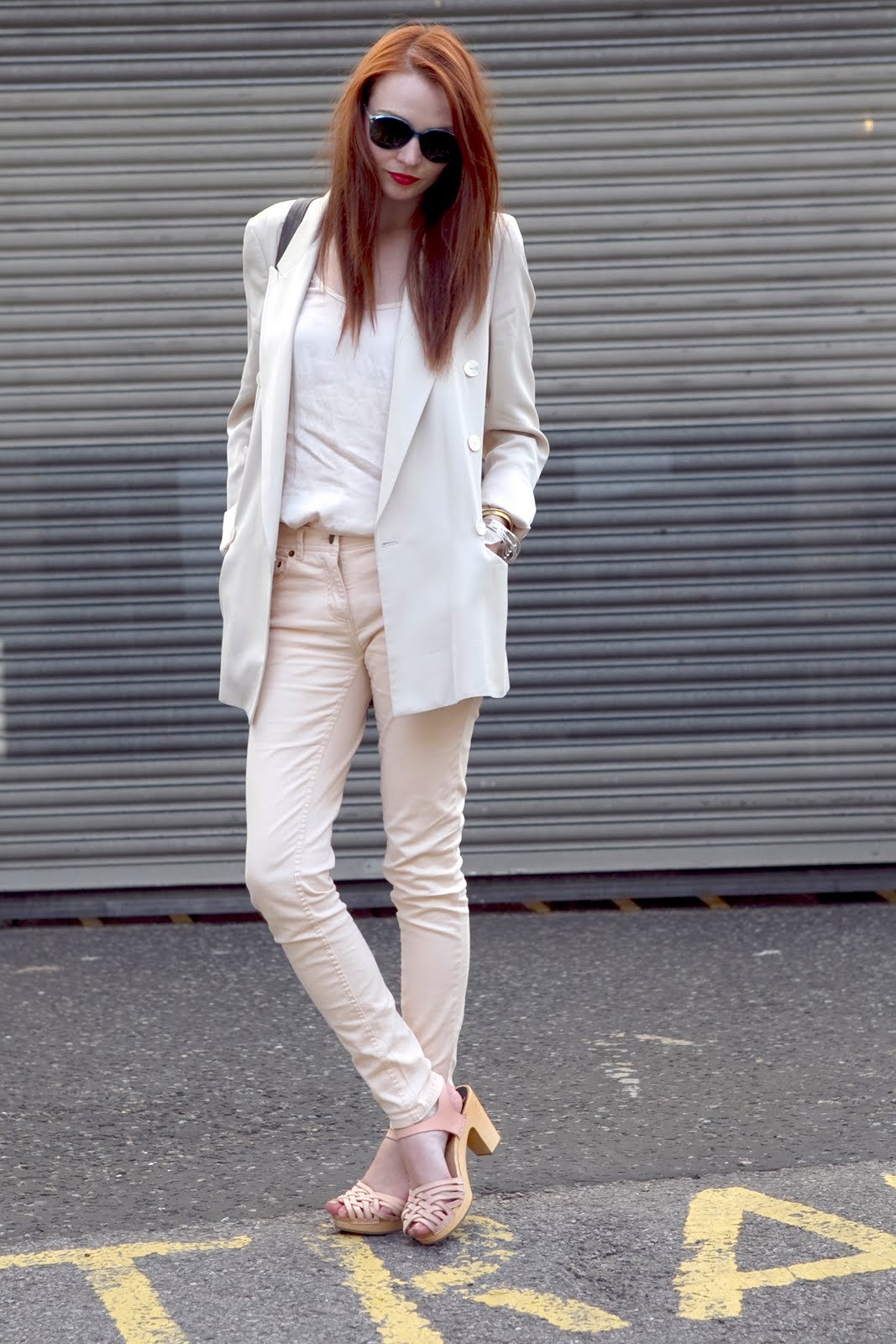 pink nude skinny jeans