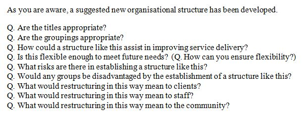 example answers to questions on organisational change A challenge the lamarsh global team is often faced with is to define this important work using simple and familiar business terms because change management practitioners have the tendency to over engineer the process, we fail to communicate what we do in simple easily, understood business.