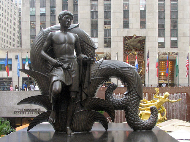 First human Youth made from clay by Prometheus, by Paul Manship, Rockefeller Center, New York