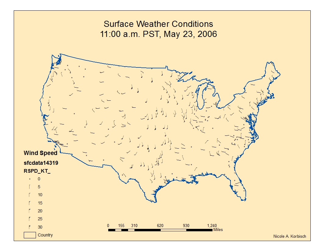 this map shows the wind speed and wind direction of the united states for may 23 2006 at 11 00 am pst clockwise circling wind patterns denote a high