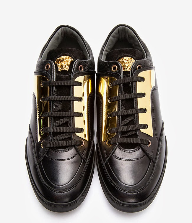 versace black leather and gold plated sneakers. Black Bedroom Furniture Sets. Home Design Ideas