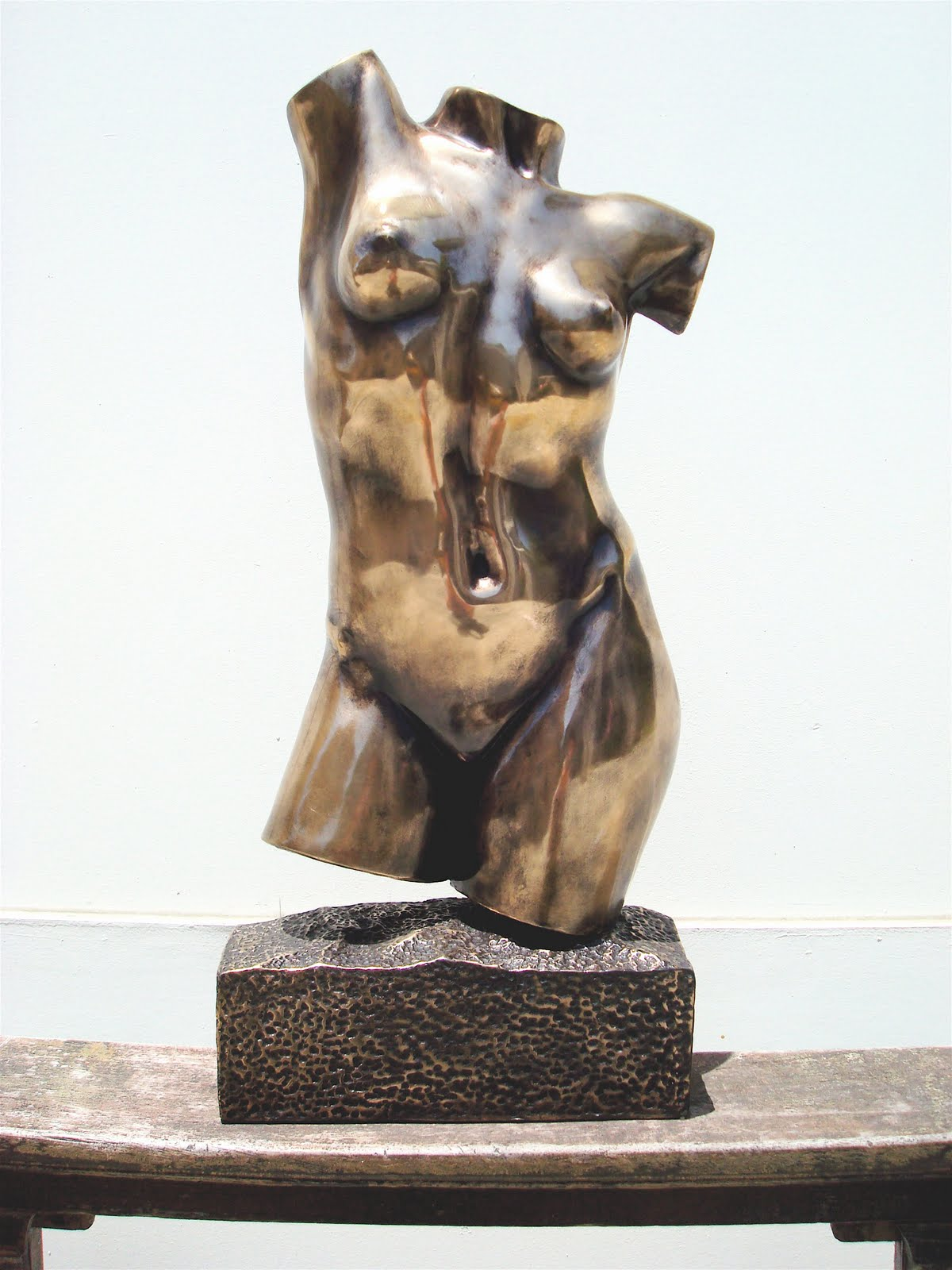 Female Torso sculpture cast in bronze with black patina ...