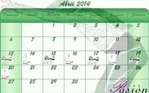 Calendario de Semana Santa de la Pasiòn 2014