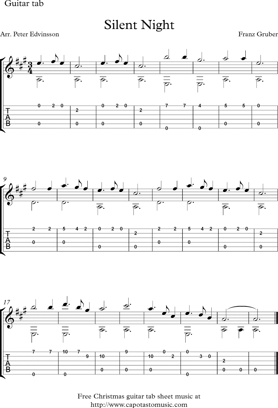 Free Christmas guitar solo sheet music, Silent Night