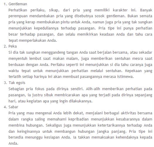 Ciri-ciri Pria Idaman Kaum Wanita Cewek Cantik Orang Sunda