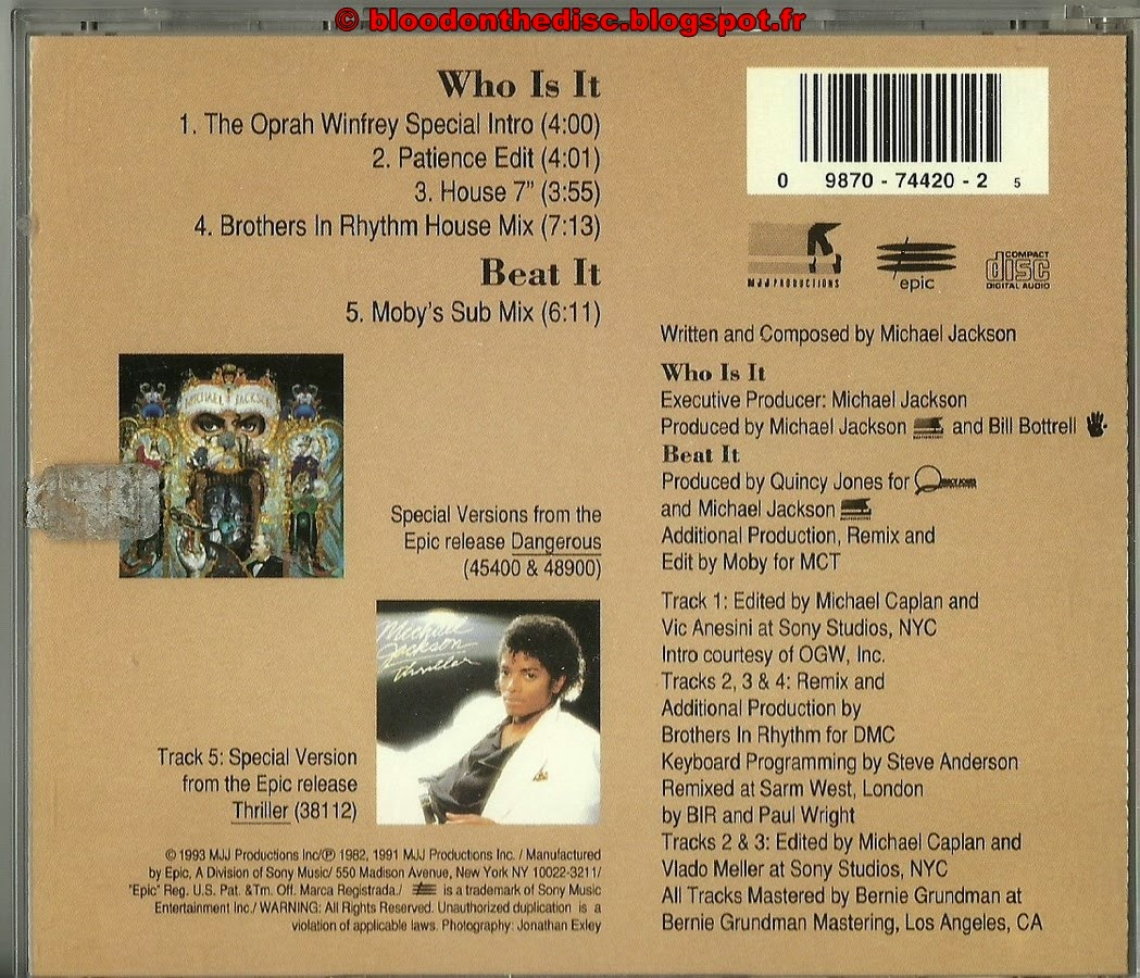 Who Is It Maxi CD Back Cover