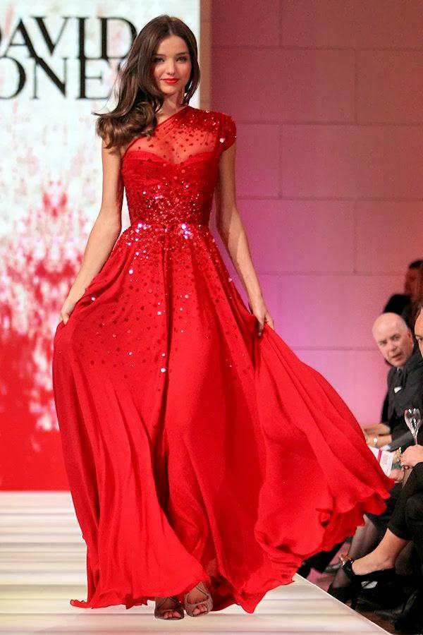 Miranda Kerr in David Jones Red One-shoulder Sequined Chiffon Dress ...