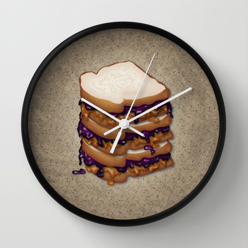 Sold! Peanut Butter and Jelly Sandwich Wall Clock
