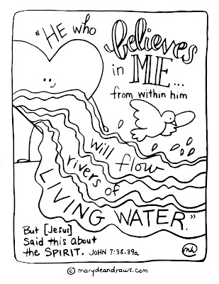 rivers of living water John 7:38 printable Scripture coloring page
