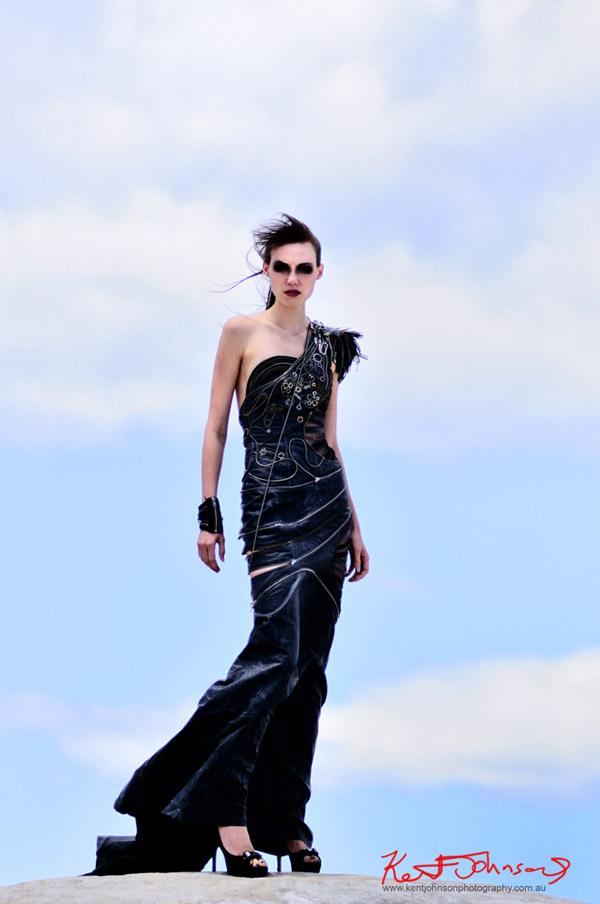 Ryoko Watanabe, high fashion, lunar landscape location shoot Sydney Australia.