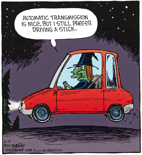 Automatic transmission stick shift driving witches cartoon