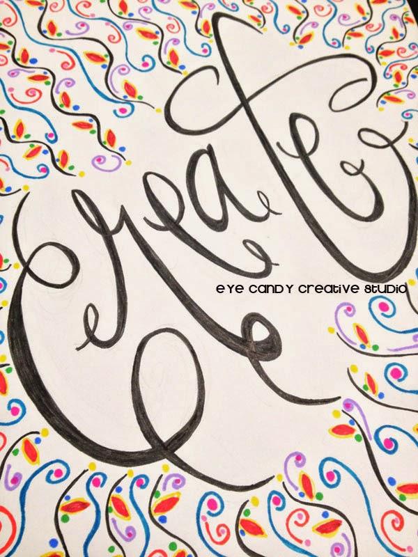 create art, hand lettered, hand lettering, create art print, one little word