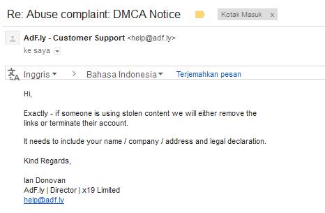 email balasan dari pengaduan abuse/dmca notice adf.ly