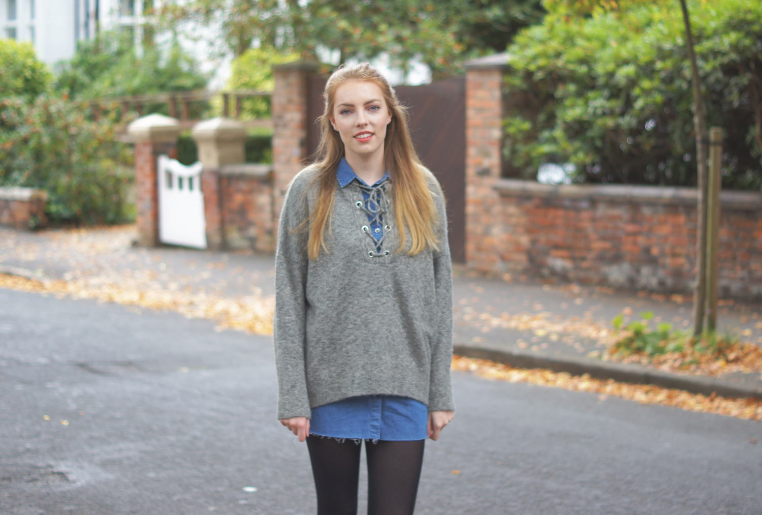 grey primary lace up jumper